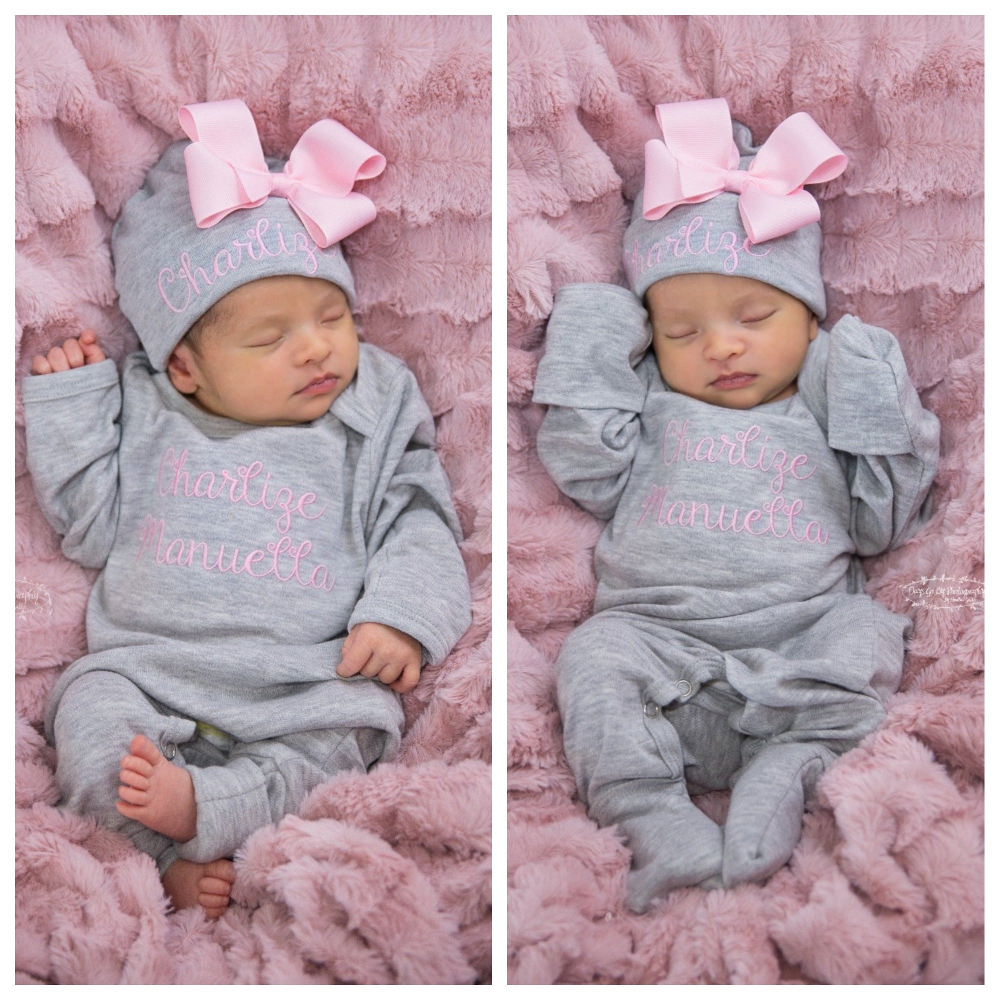 e97da750695 Pink and Gray Newborn Baby Girl Coming Home Outfit with Bows - Junie ...