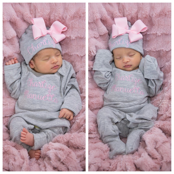 caa54d533dff Pink and Gray Newborn Baby Girl Coming Home Outfit with Bows - Junie Grace