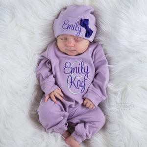 Personalized Purple Baby Girl Romper and Hat Coming Home Outfit