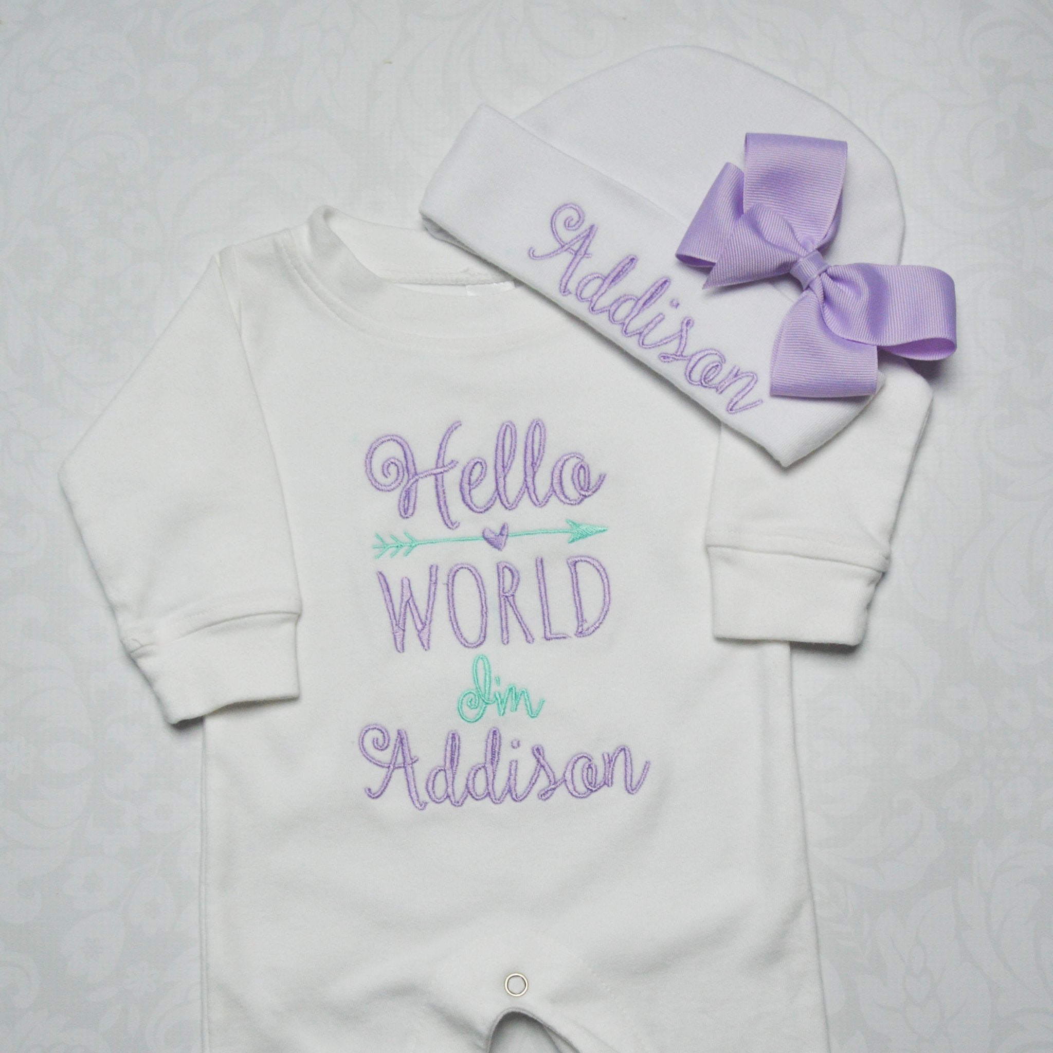 0641ae105a52c Hello world bodysuit and hat with bow coming home outfit JPG 2048x2048 Coming  home outfit