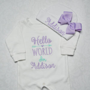 """Hello World"" Bodysuit and Hat with Bow Coming Home Outfit"