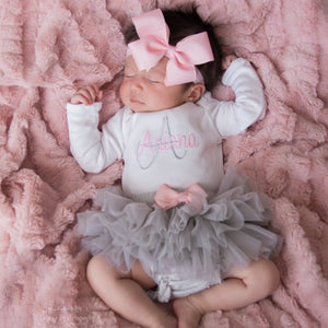 Pink and Gray Baby Girl Tutu and Personalized Bodysuit