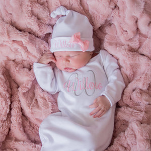 Customized Baby Girl Coming Home Gown and Headband