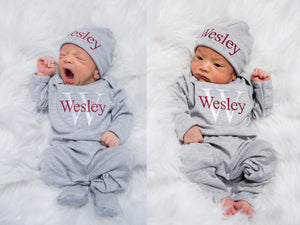 Newborn Boy Personalized Hat & Romper Outfit