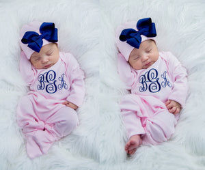 Newborn Baby Girl Personalized Pink and Navy Hat & Romper Outfit
