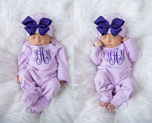 Newborn Girl Personalized Purple Hat With Bow & Romper Outfit