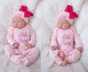 Baby Girl Personalized Pink Matching Hat With Bow & Romper Outfit