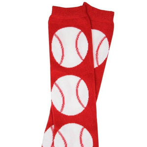 detail shot of red and white baseball baby leg warmers