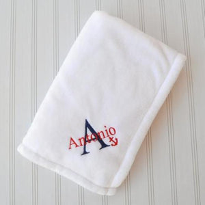 Antonio blue and red nautical themed white blanket