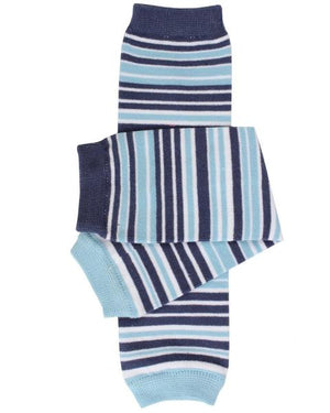 multicolored striped leggings in shades of blue
