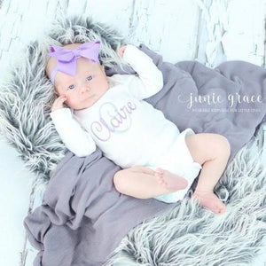 Claire lavender baby bodysuit with purple headband bow