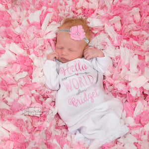 """Hello World"" Personalized Baby Girl Coming Home Gown and Headband"