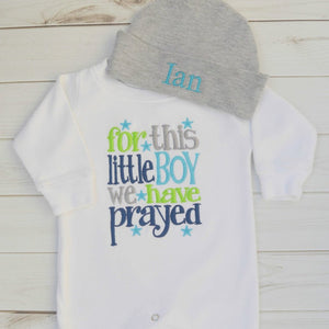 For this little boy we have prayed Ian personalized hat in gray and white romper set