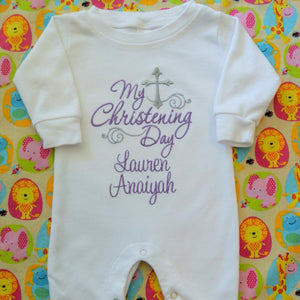 My christening day Lauren baby girl romper for Christening