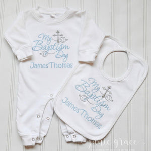 My Baptism Day James Thomas baptism day romper and bib set
