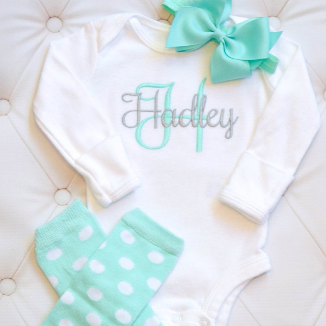 db65f09ef Monogrammed Baby Girl 3-Piece Coming Home Set With Polka Dots & Bows ...