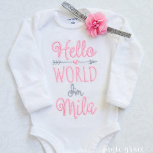 Hello world I'm Mila embroidered bodysuit with pink flower headband
