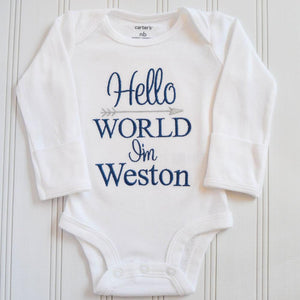 Hello World I'm Weston baby boy embroidered and personalized baby romper bodysuit