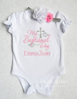 My baptismal day ava ryan romper with pink and white floral headband for baby girl