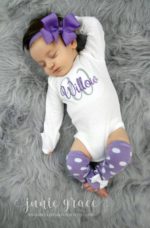 cute teal colored leg warmers and matching headband with personalized embroidered baby bodysuit with the name Hadley