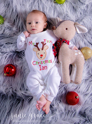 My first christmas Ian reindeer applique sleeper romper