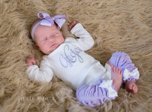 three images of a baby girl wearing a bodysuit with her name monogrammed on it with matching lavender headband and leg warmers