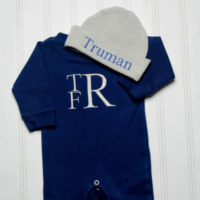 6fcfb3a23ea25 Personalized Monogram Long Sleeve Romper Set with Hat - Junie Grace
