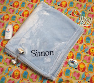 Simon custom embroidered baby blanket with baby's name