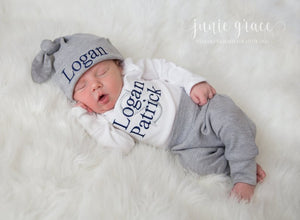 Baby Boy Coming Home Outfit with Hat