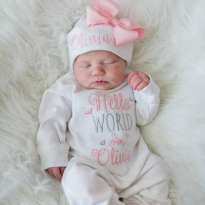 Hello World Personalized Baby Girl Outfit
