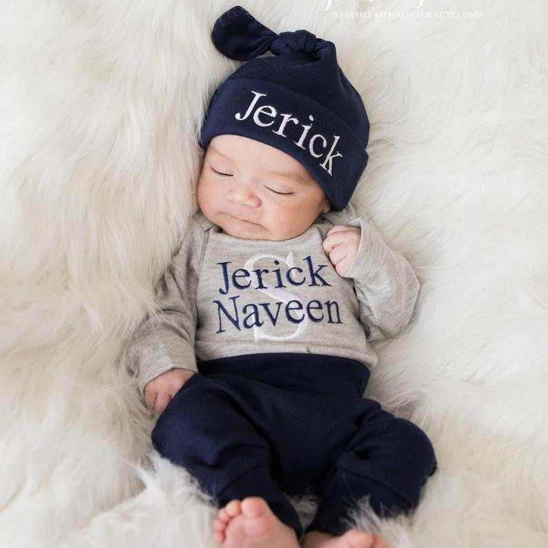 14c4818b2dff6 Personalized Baby Boy Coming Home Outfit with Pants & Hat