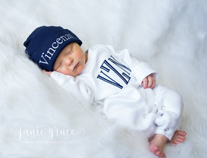 Newborn Boy Coming Home Outfit with Monogram
