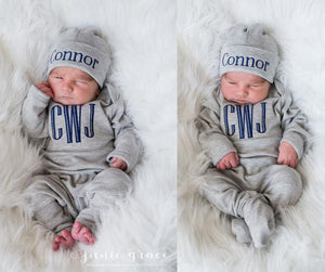 Newborn Baby Boy Outfit with Optional Matching Hat