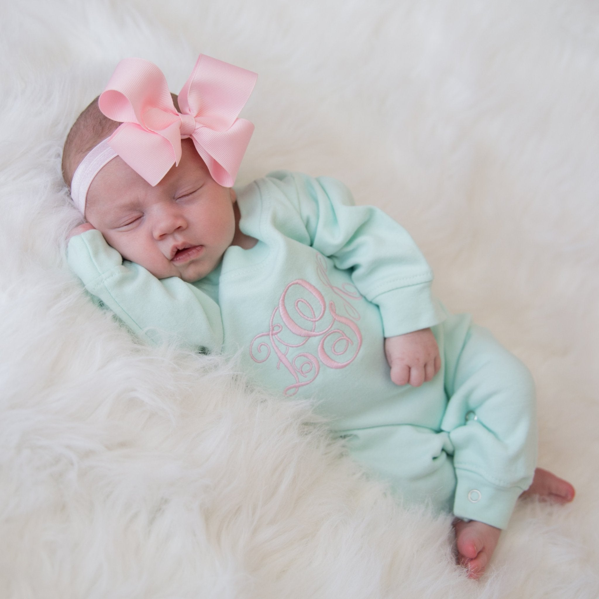 4a11fd8a73b83 Mint and Pink Newborn Baby Girl Coming Home Outfit with Bow Headband