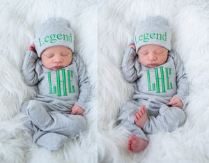 Newborn Baby Boy Personalized Gray and Green Hat & Romper Outfit