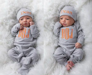 Baby Boy Personalized Gray and Orange Hat & Romper Outfit