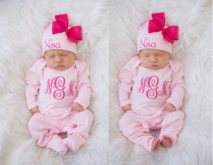 Baby Girl Monogrammed Pink  Romper and Hat Set