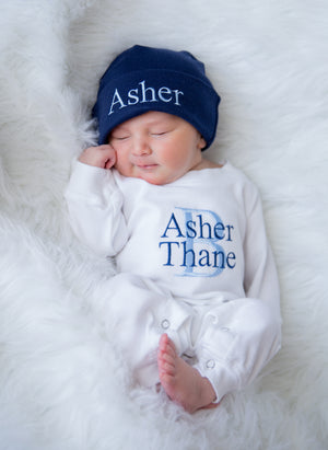 Personalized White & Navy Baby Boy Matching Romper and Hat Coming Home Outfit