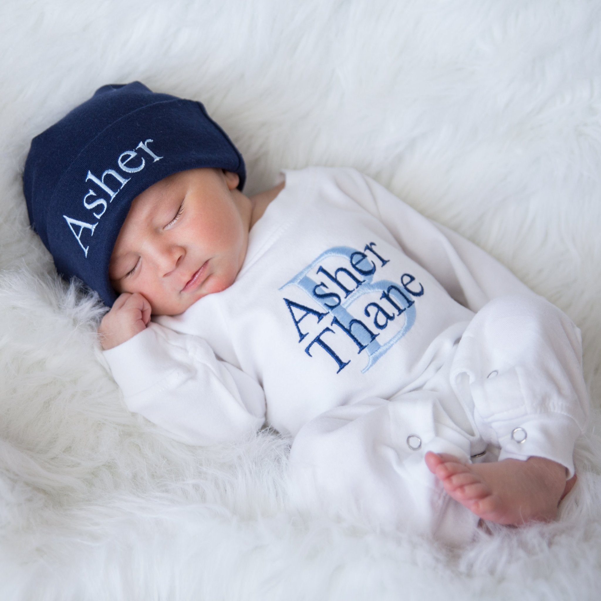 98f8cd1f134 Personalized White   Navy Baby Boy Matching Romper and Hat Coming Home  Outfit