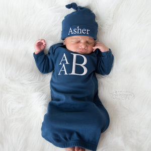 Navy Baby Boy Coming Home Gown with White Lettering