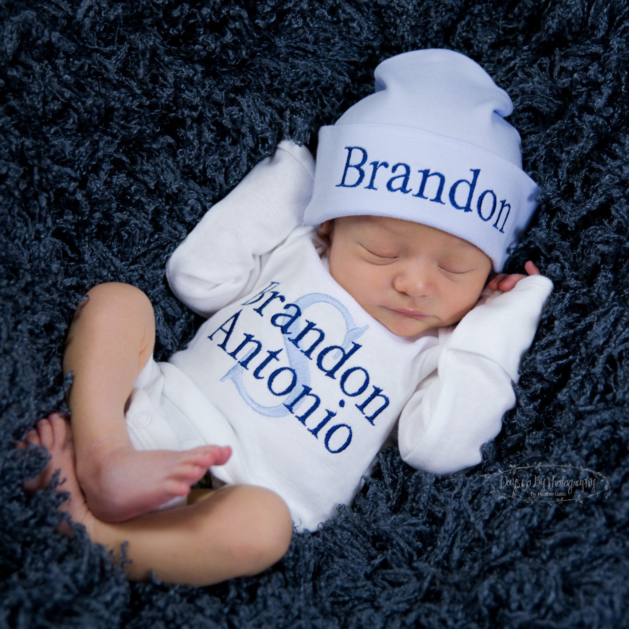 e6ad9217bca Baby Boy Custom Embroidered Hat and Personalized Bodysuit Set