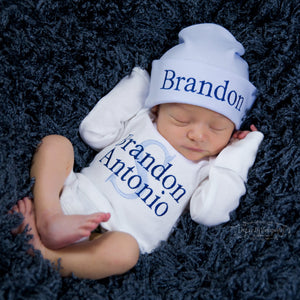 Baby Boy Custom Embroidered Hat and Personalized Bodysuit Set