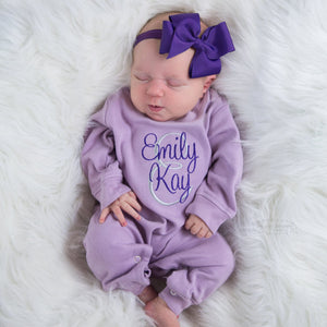 Purple Romper for Baby Girl with Matching Bow Headband