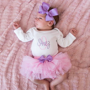 Pink and Lilac Baby Girl Tutu and Personalized Bodysuit