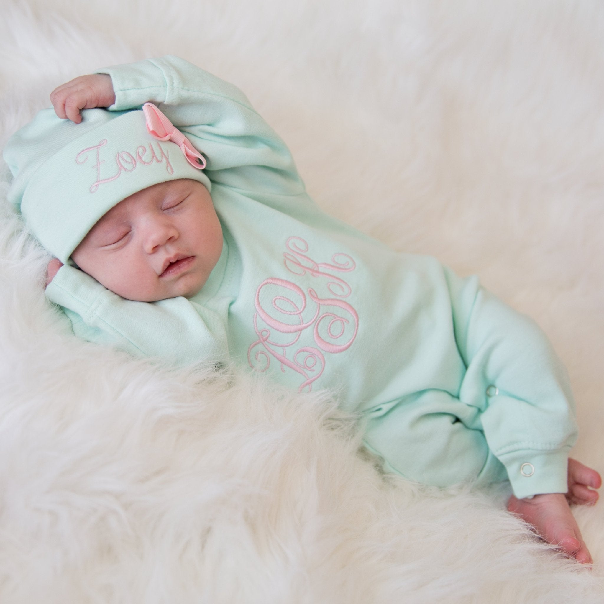 22a3276a7fb3e Personalized Baby Girl Romper and Hat Coming Home Outfit