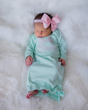 Mint Newborn Baby Girl Coming Home Gown with Bow Headband