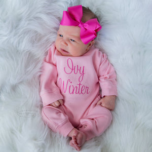 Pink Romper for Baby Girl with Matching Bow Headband