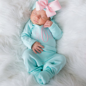 Newborn Girl Monogrammed  Aqua and Pink Hat & Romper Outfit