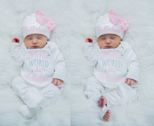 Newborn Girl Personalized White and Pink Matching Hat With Bow & Romper Outfit