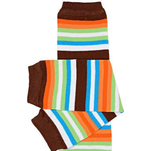 brown, orange, green, white and blue baby leg warmers